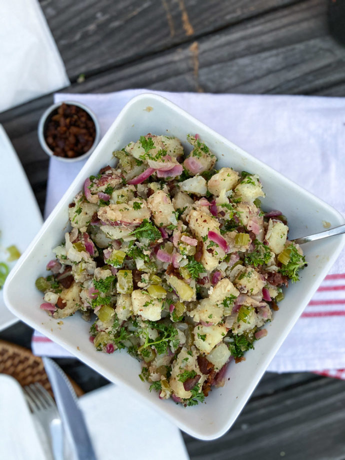 traditional german salad with bacon bits