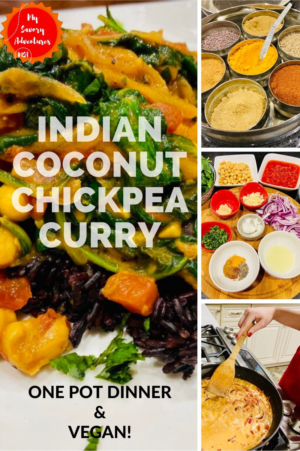 how to make Indian coconut chickpea and spinach curry.