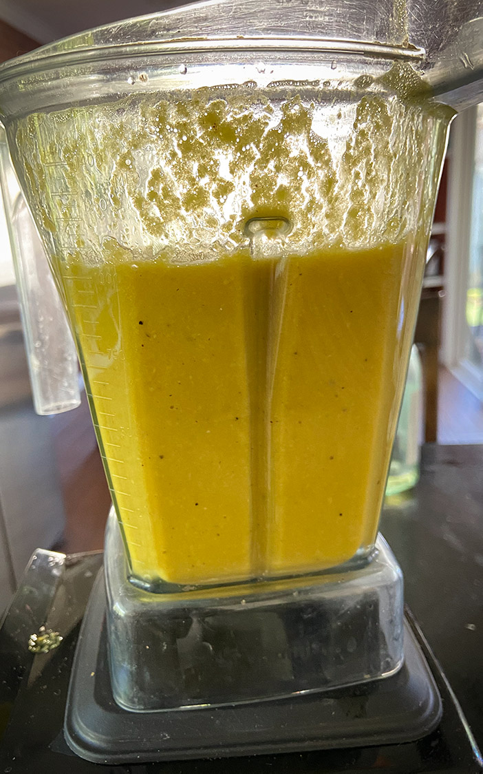 corn gazpacho in blender