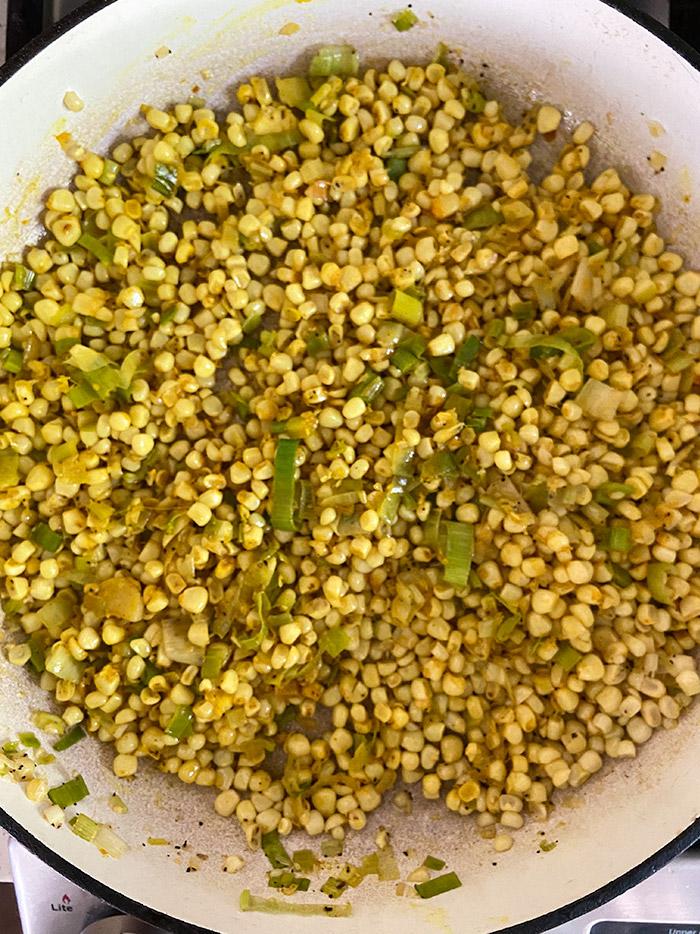 corn gazpacho in pan