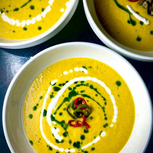 sweet corn gazpacho in bowls