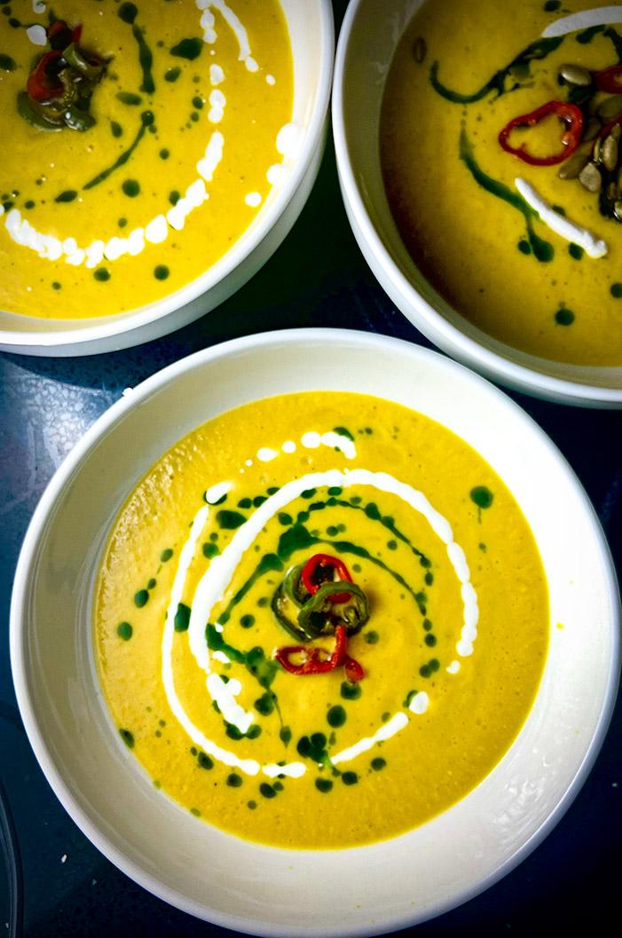 corn gazpacho in bowls