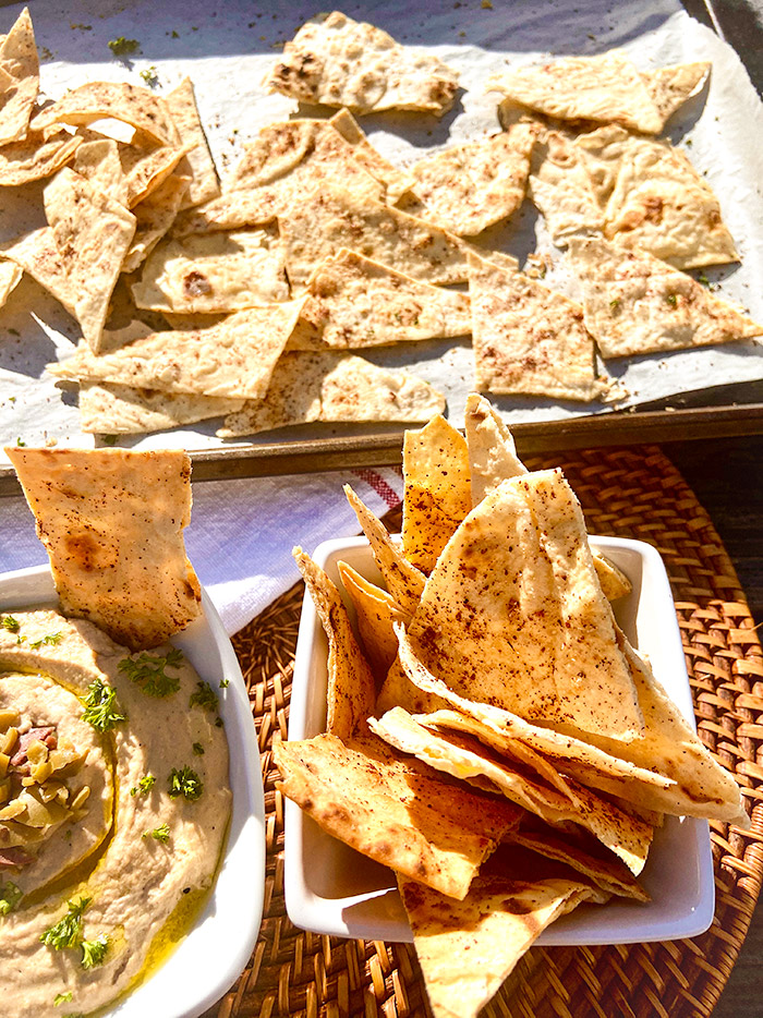 olive hummus with chips