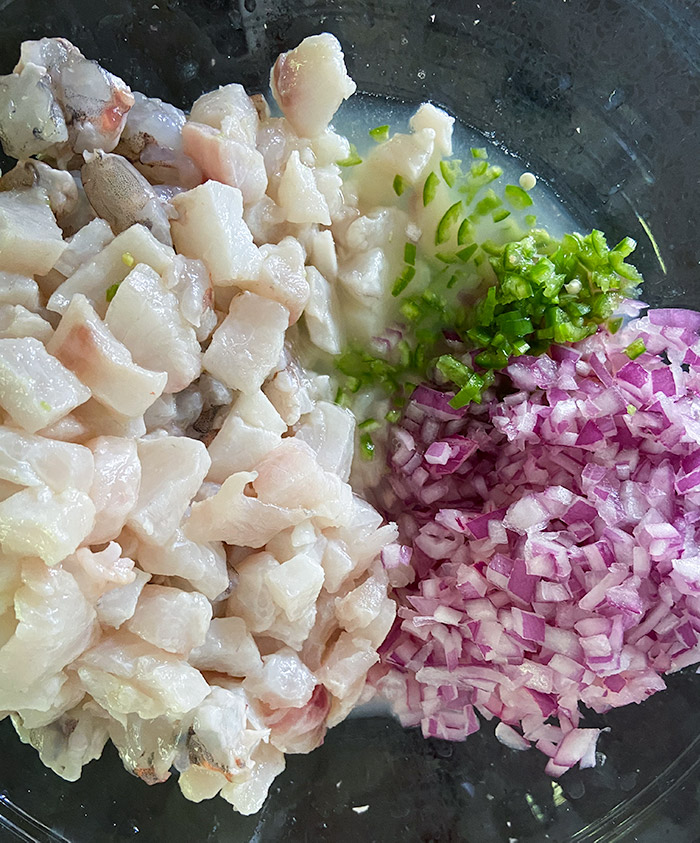 ceviche marinating