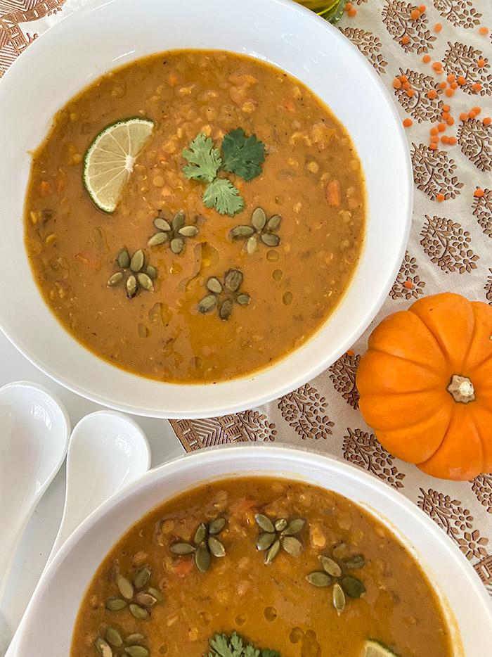 pumpkin lentil soup in a bowl