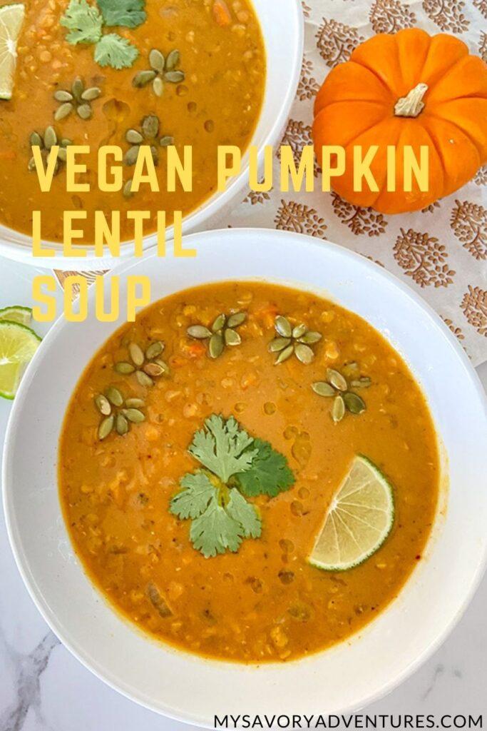 pumpking lentil soup in a bowl
