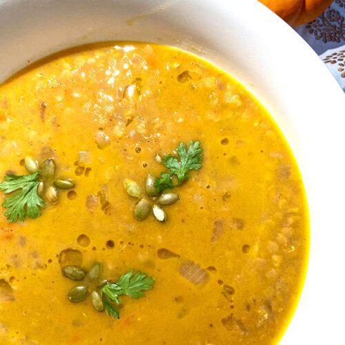lentil pumpkin soup in a bowl