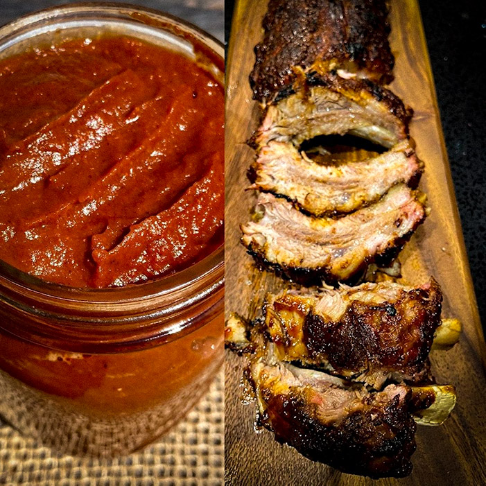 sweet and spicy bbq sauce with ribs
