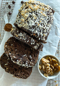 chocolate coconut banana bread with oat flour loaf