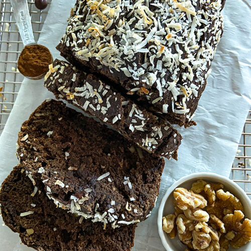 chocolate coconut banana bread with oat flour