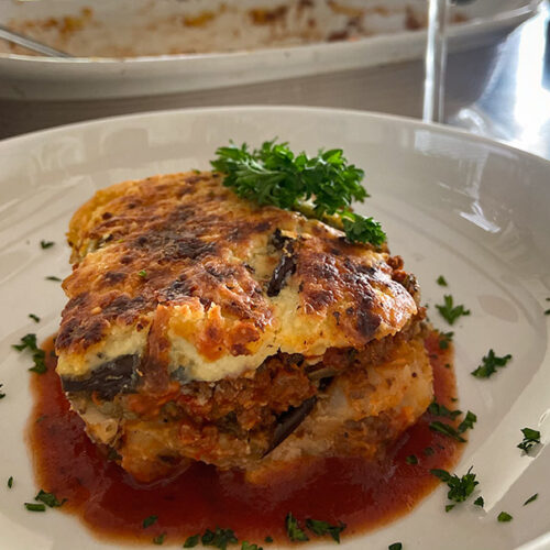 traditional greek moussaka plated