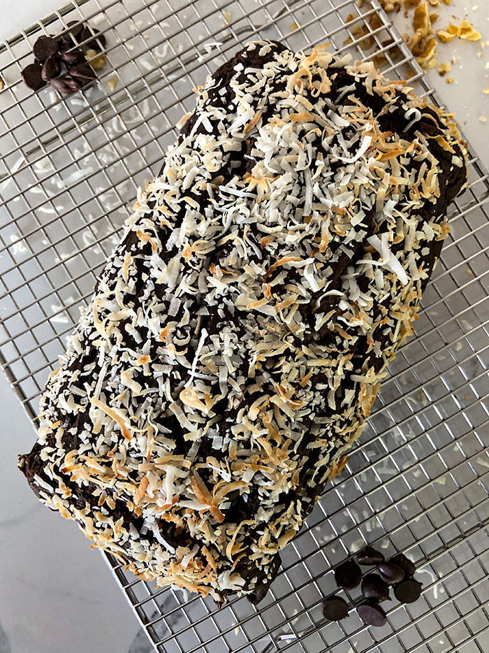chocolate coconut banana bread with oat flour in one loaf