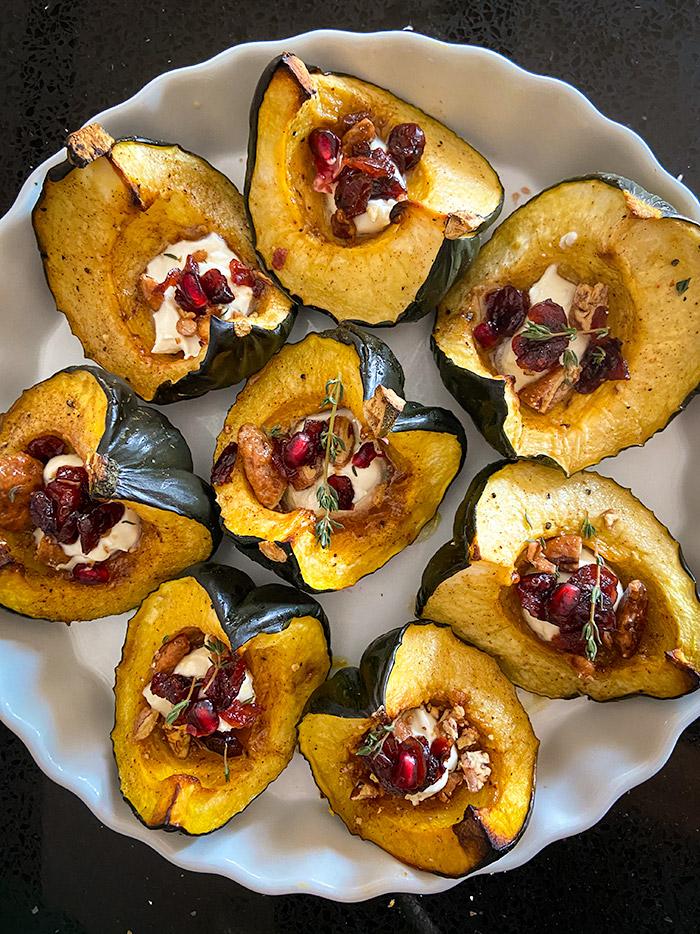 roasted acorn squash wedges